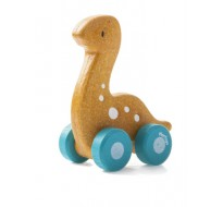 деревянная игрушка Диплодок на колёсиках