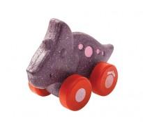 деревянная игрушка Трицератопс на колёсиках