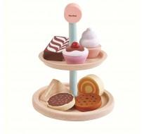 деревянная игрушка Набор подставка с выпечкой