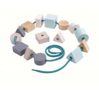 деревянная игрушка Геометрические бусинки на верёвке