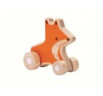 деревянная игрушка Лисичка на колёсах
