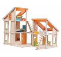 деревянная игрушка Кукольный домик Шале с мебелью