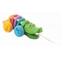 деревянная игрушка Каталка радужный крокодил