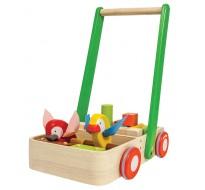деревянная игрушка Тележка-каталка с птицами