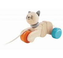 деревянная игрушка Каталка котик