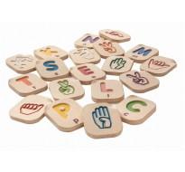деревянный Английский алфавит языка жестов A-Z