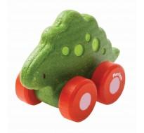 деревянная игрушка Стегозавр на колёсиках