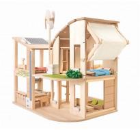 деревянная игрушка Зелёный кукольный домик с мебелью