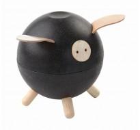 Свинка-копилка, чёрная