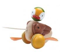 деревянная игрушка Каталка уточка на верёвочке
