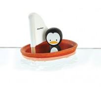деревянная игрушка Пингвин в парусной лодке