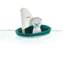деревянная игрушка Белый медведь в парусной лодке